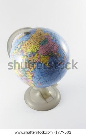 World globe indicating China, India and Russia (1 of 3) - stock photo