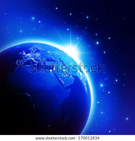 World globe map night (Elements of this image furnished by NASA) - stock photo