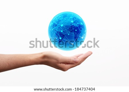 World globe on hand, connection concept - stock photo