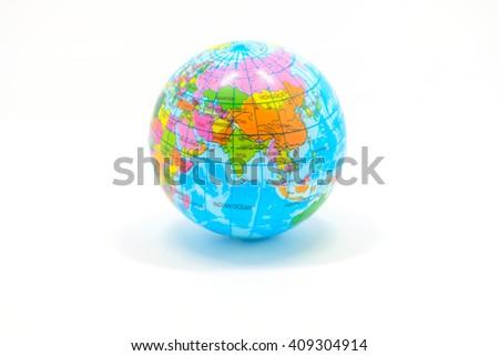 World Globe on white background.Isolate,Elements of this image furnished - stock photo