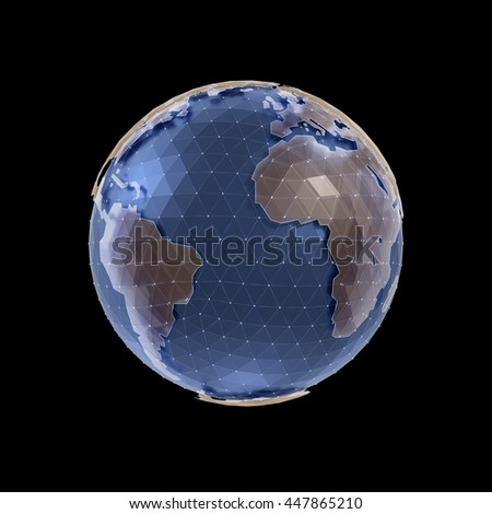 World Globe. Polygonal CG model of a globe for infographics/presentation purpose. 3D-rendering graphics isolated on black background.