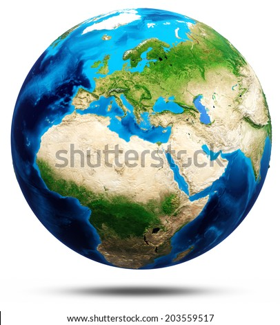 World globe real relief, modified maps, lighting and materials. Earth globe model,  Elements of this image furnished by NASA, in the title