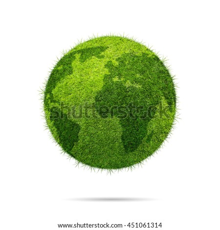 World globe shape of green grass isolated on white background - stock photo