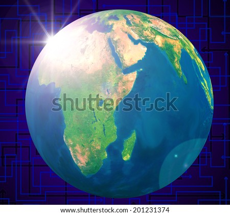 World Globe Showing Solar System And Solar-System - stock photo