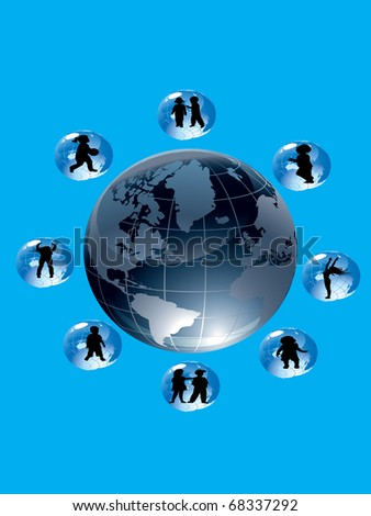 World globe surrounded by smaller spheres containing children. - stock photo