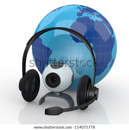 world globe with headphones, mic and a webcam (3d render) - stock photo