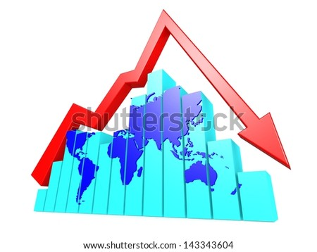 World graph down - stock photo
