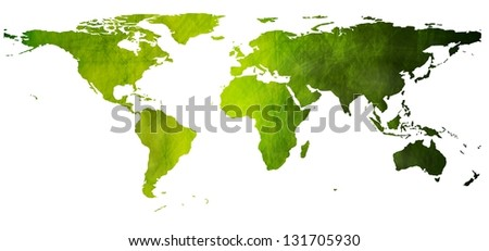 World green map in grunge style - stock photo
