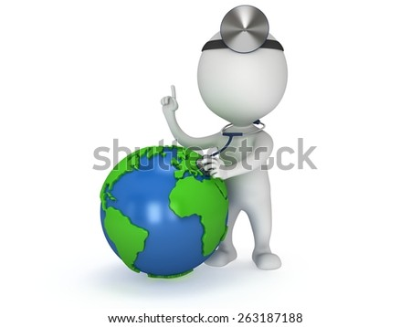 World health day concept with earth globe and doctor with a stethoscope and mirror on his head. 3d render isolated on white. Medicine and healthcare illustration - stock photo