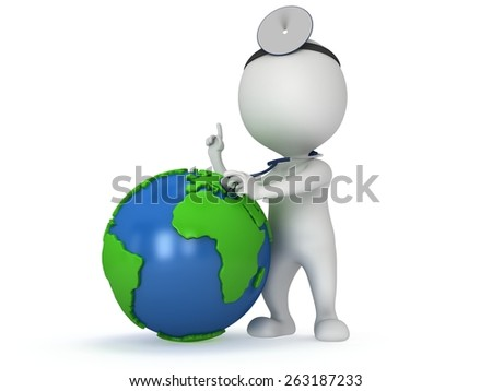 World health day concept with earth globe and doctor with a stethoscope and mirror on his head. 3d render isolated on white. Medicine and healthcare illustration