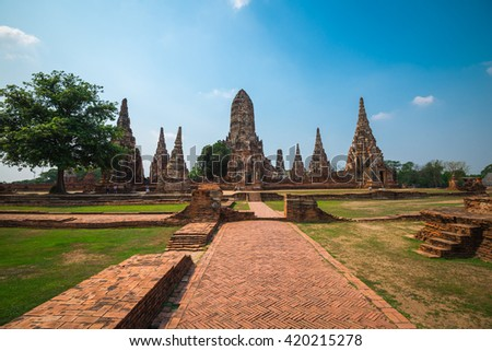 World heritage : Beautiful Wat Chai Watthanaram temple, Ayutthaya Thailand - stock photo