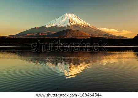 World Heritage Mount Fuji and Lake Shoji - stock photo