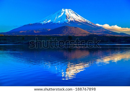 World Heritage Mount Fuji and Lake Shoji I - stock photo