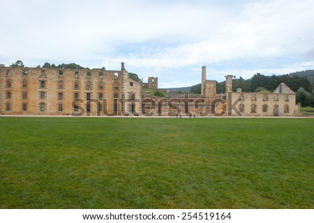 World Heritage Site of  Port Arthur Convict Museum Settlement in Tasmania, Australia, with ruins of prison and other historic buildings, tourist attraction and destination. - stock photo
