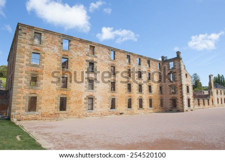 World Heritage Site of  Port Arthur Convict Museum Settlement in Tasmania, Australia, with ruins of historic prison and other buildings, tourist attraction, copy space. - stock photo