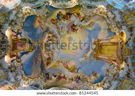 World heritage wall and ceiling frescoes of wieskirche church in bavaria, Germany, Europe - stock photo