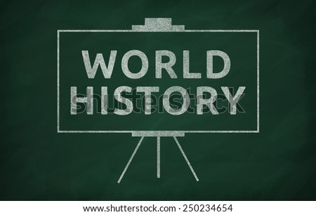 World history writed on blackboard with chalk - stock photo