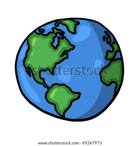 World illustration; Planet earth freehand drawing