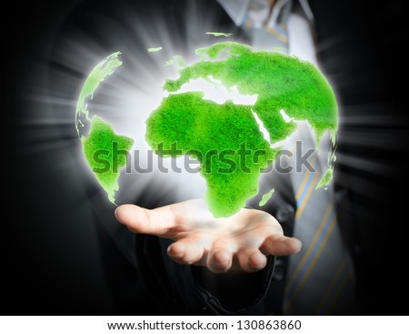 World in a hand close up - stock photo