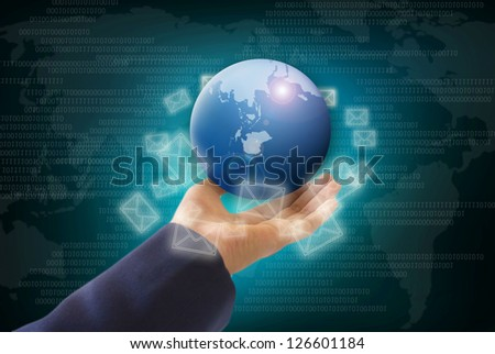 World in hands, global business