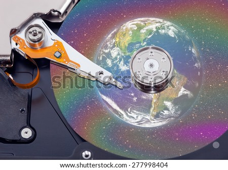 """World in hard-disk """"Elements of this image furnished by NASA  - stock photo"""