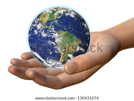 WORLD IN HUMAN HAND - 3D - Elements of this image furnished by NASA - stock photo
