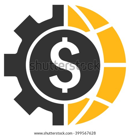 World Industry Finances glyph icon. Style is flat symbol, yellow color, white background. - stock photo