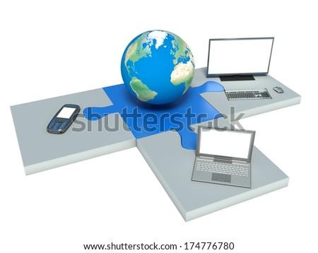 World information technology - stock photo