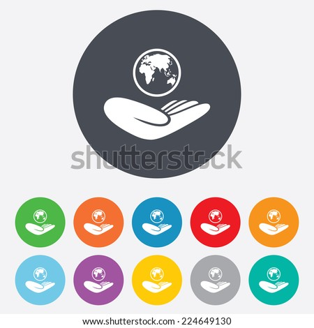 World insurance sign. Hand holds planet symbol. Travel insurance. World peace. Round colourful 11 buttons. - stock photo