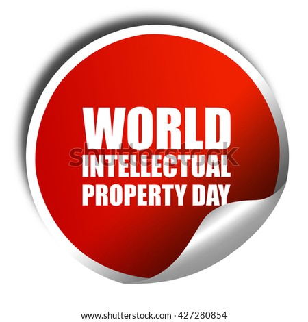 world intellectual property day, 3D rendering, a red shiny stick - stock photo