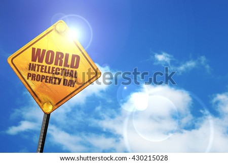 world intellectual property day, 3D rendering, glowing yellow tr - stock photo