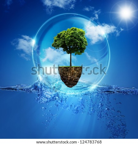 World into the bubble. Abstract natural backgrounds for your design - stock photo