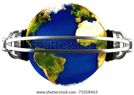 world is a dj with headsets over it - stock photo