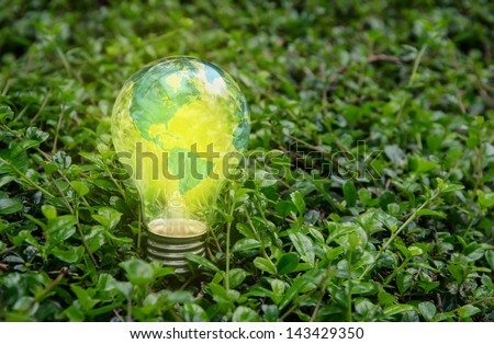 World lamp bright on green nature,America - stock photo