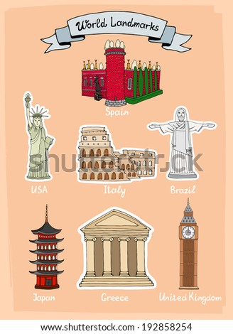 World Landmarks hand-drawn icon set with Castello de Mendoza in Spain  Statue of Liberty in USA  Colosseum in Italy  Statue of Christ in Brazil  Palace in Japan  Parthenon in Greece and Big Ben in UK - stock photo