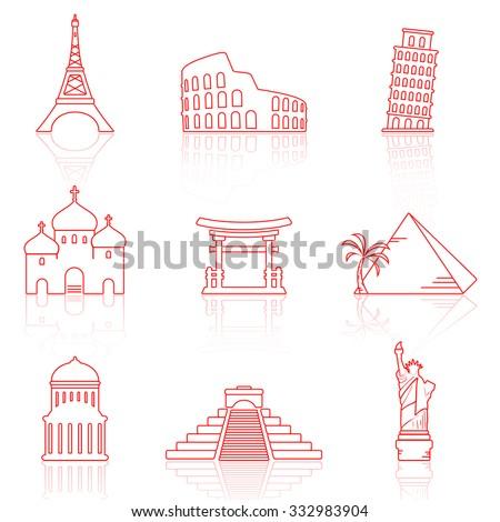 World landmarks thin line icons - stock photo