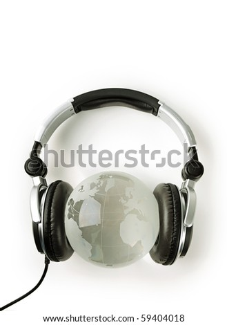 World listening music. Crystal world with headphone. Concept of music, sound, style, party, peace.
