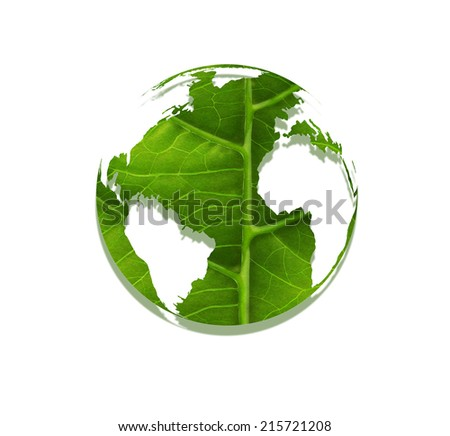 world made �¢??�¢??of leaf - Environmental concept - stock photo