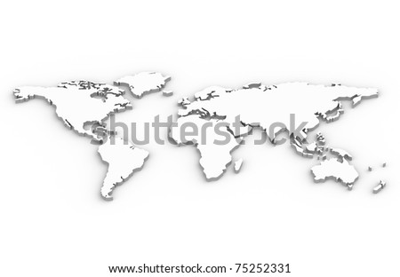 World Map. A World Map in 3D - stock photo