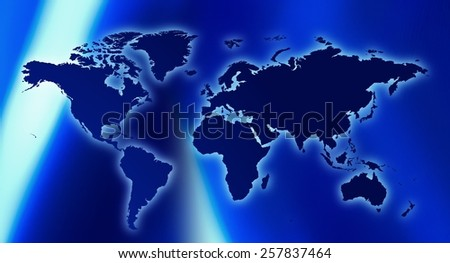 World map and abstract lights background