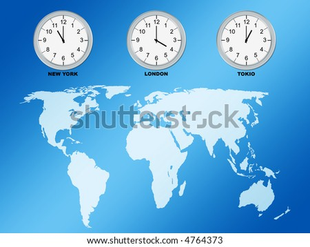 World map and clocks, computer generated