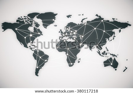 World map and connection lines. Social media, technology connectivity concept, 3d rendering - stock photo