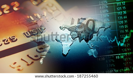 World map and financial data. Finance concept. - stock photo