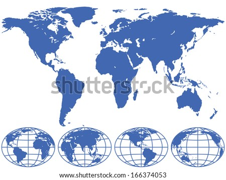 World map and globes