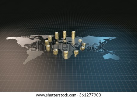 World map and gold world map with gold COINS The