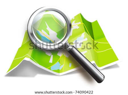 World map and magnifying glass in the form of a teaser site dyal