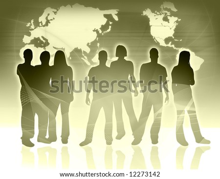 world map and people silhouettes