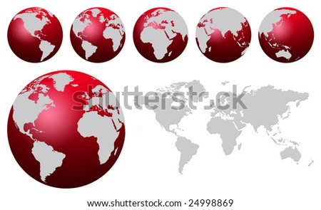 World map and red globes