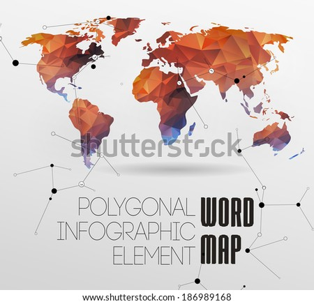 World map background in polygonal style for website, info-graphics, banner. - stock photo