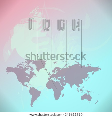 World Map background with blue and pink paint splashes - stock photo